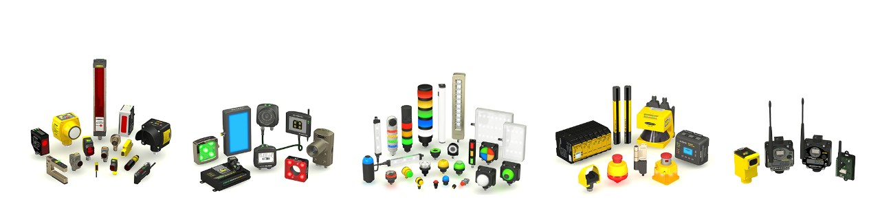 Banner Product Portfolio: sensors, vision sensors, LED lights and indicators, wireless and safety products.