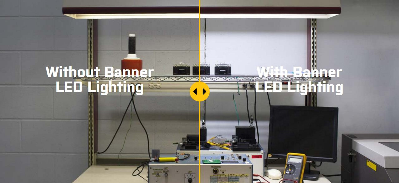 Comparing a Workstation with and without Banner LED Lighting