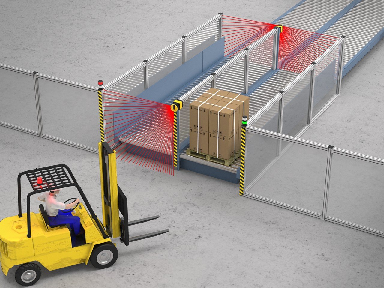 SX5 Safety Laser Scanners Safeguard Multiple Access Points on a Pallet Transfer Conveyor