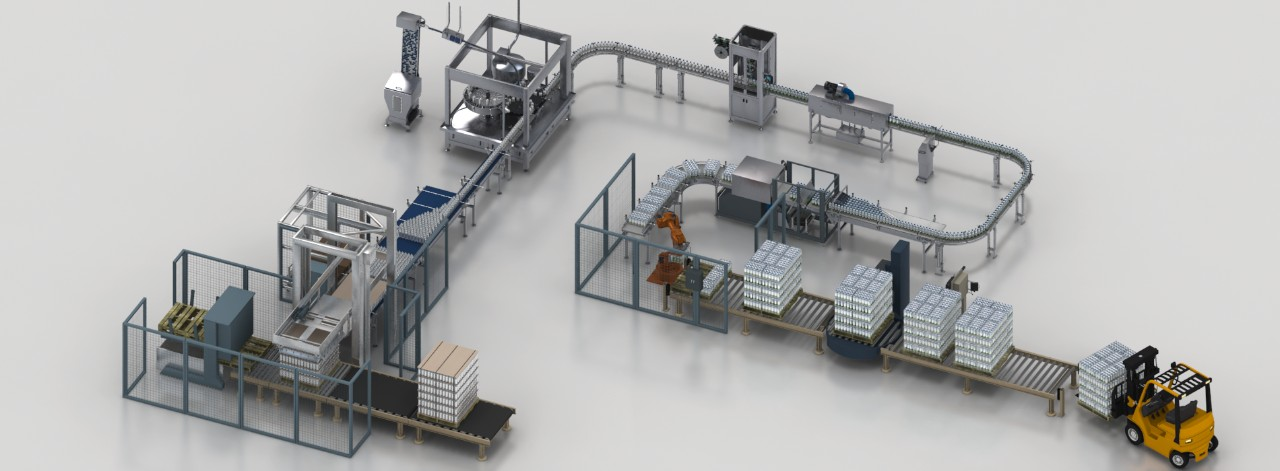 Automated solutions for end-to-end beverage packaging lines