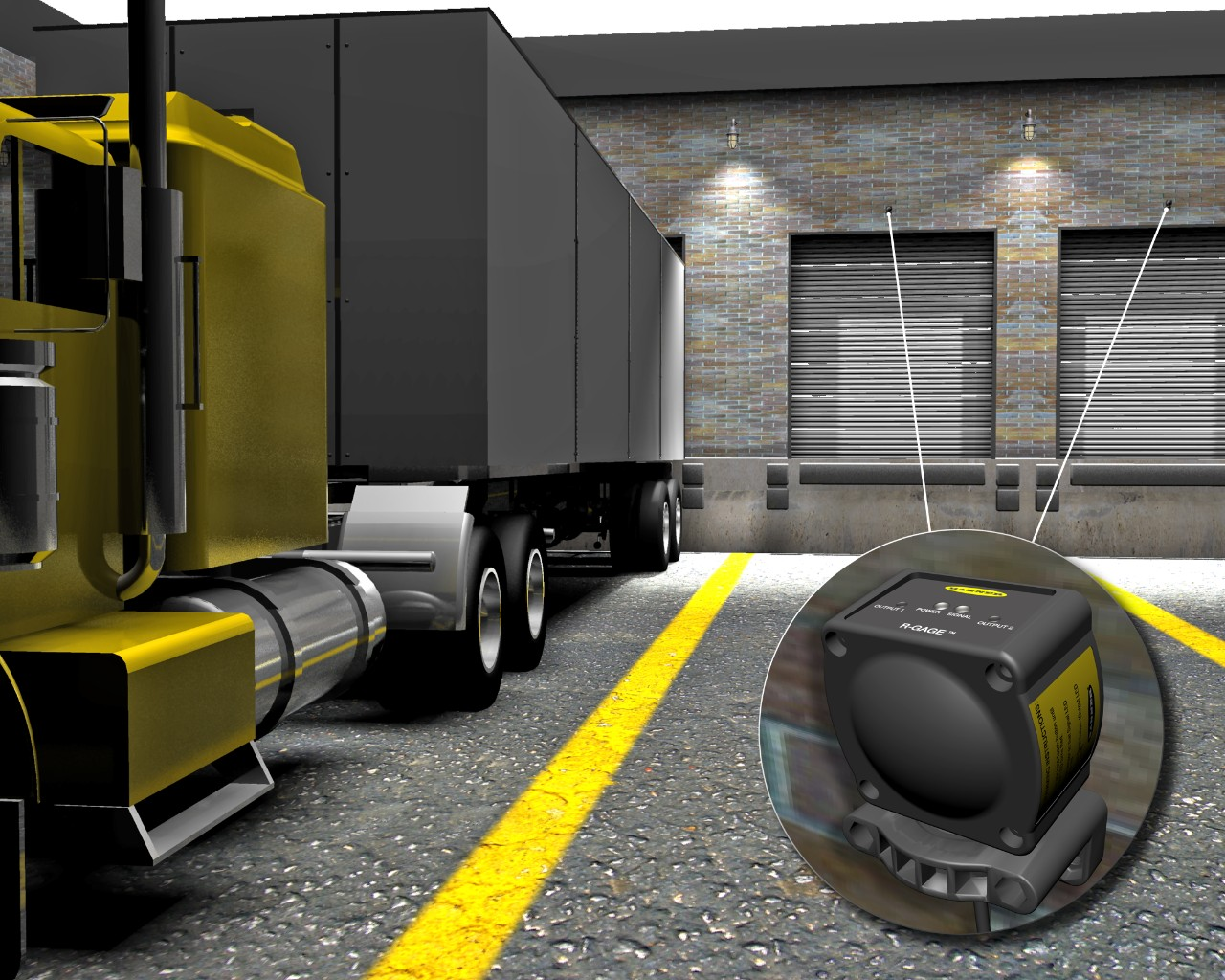 Radar sensor detects large trucks at a loading dock
