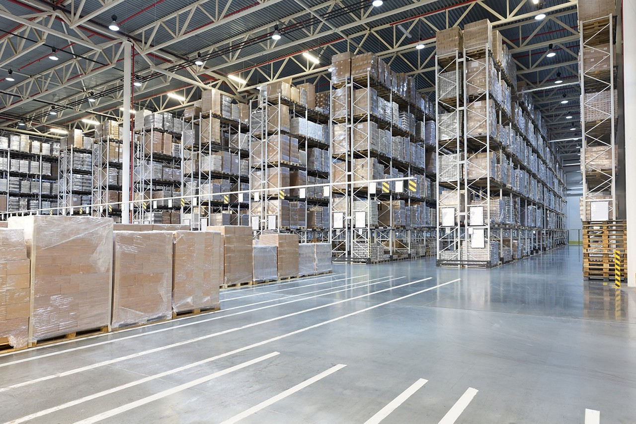 warehouse with shelving and boxes