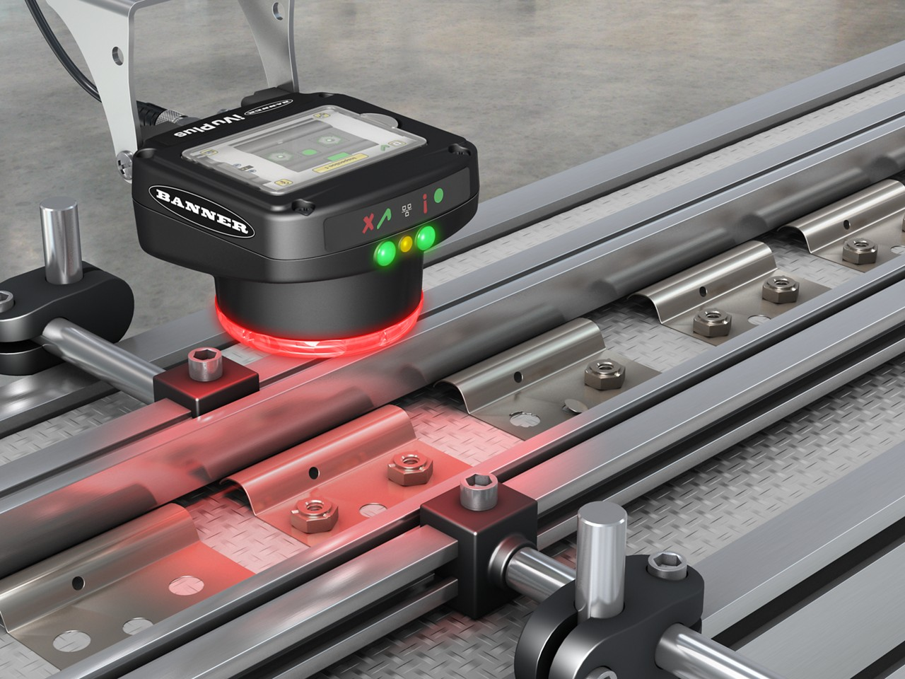 vision sensor inspects metal brackets