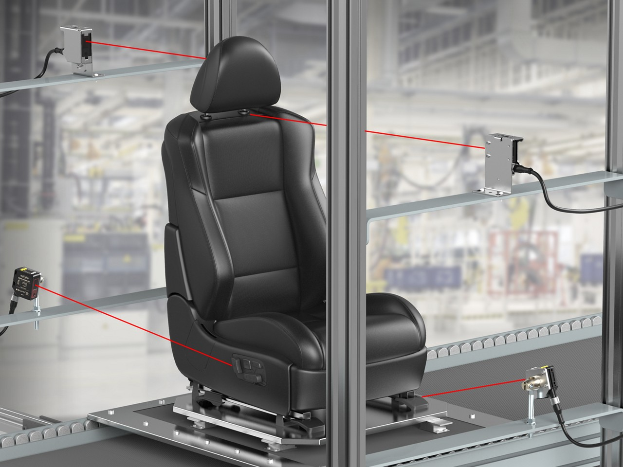 sensors detect dark automotive components during seat inspection