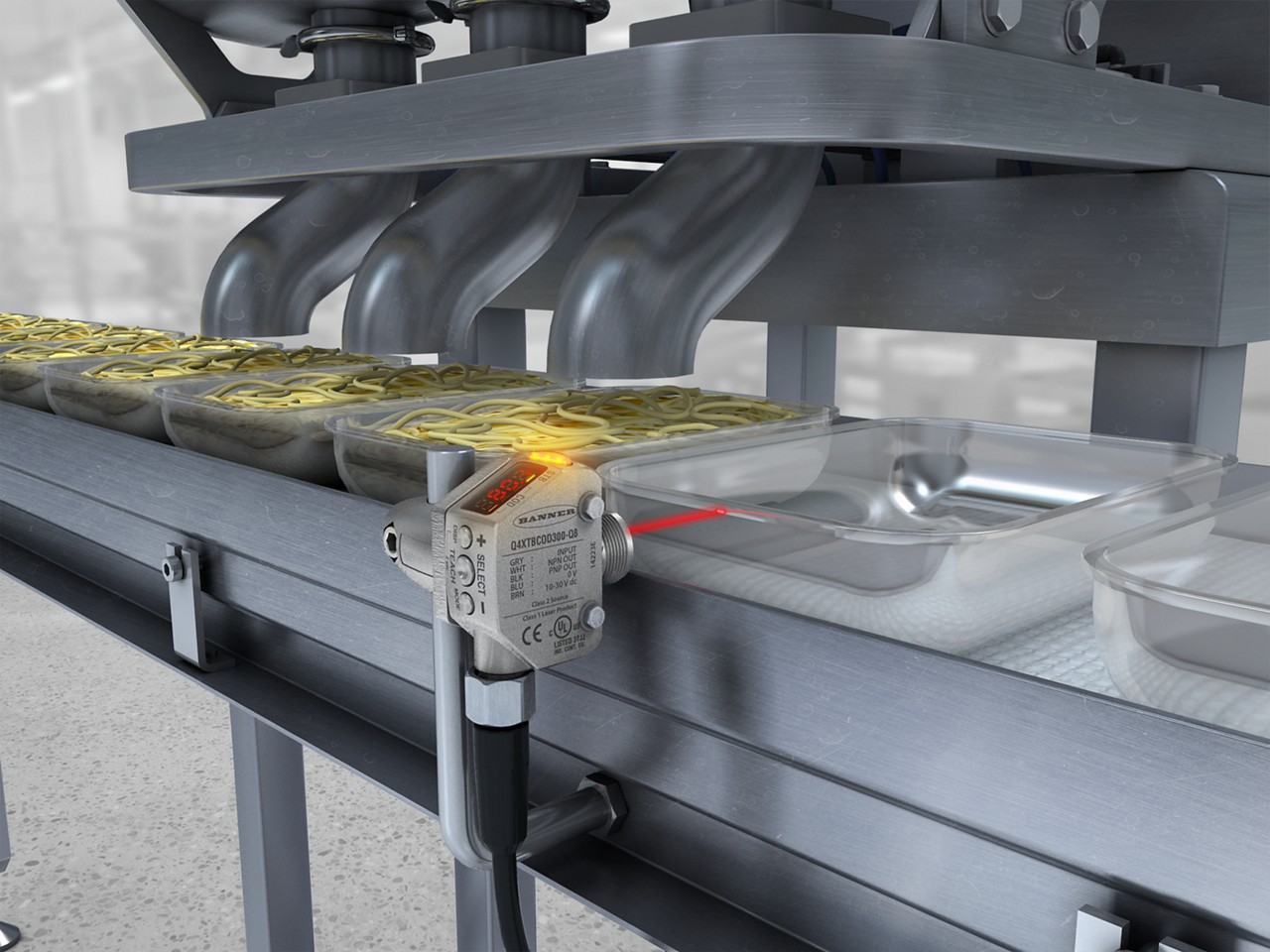 Q4X sensor detects clear trays in a food application