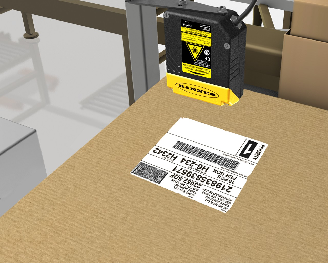 barcode reader scans a code on a box