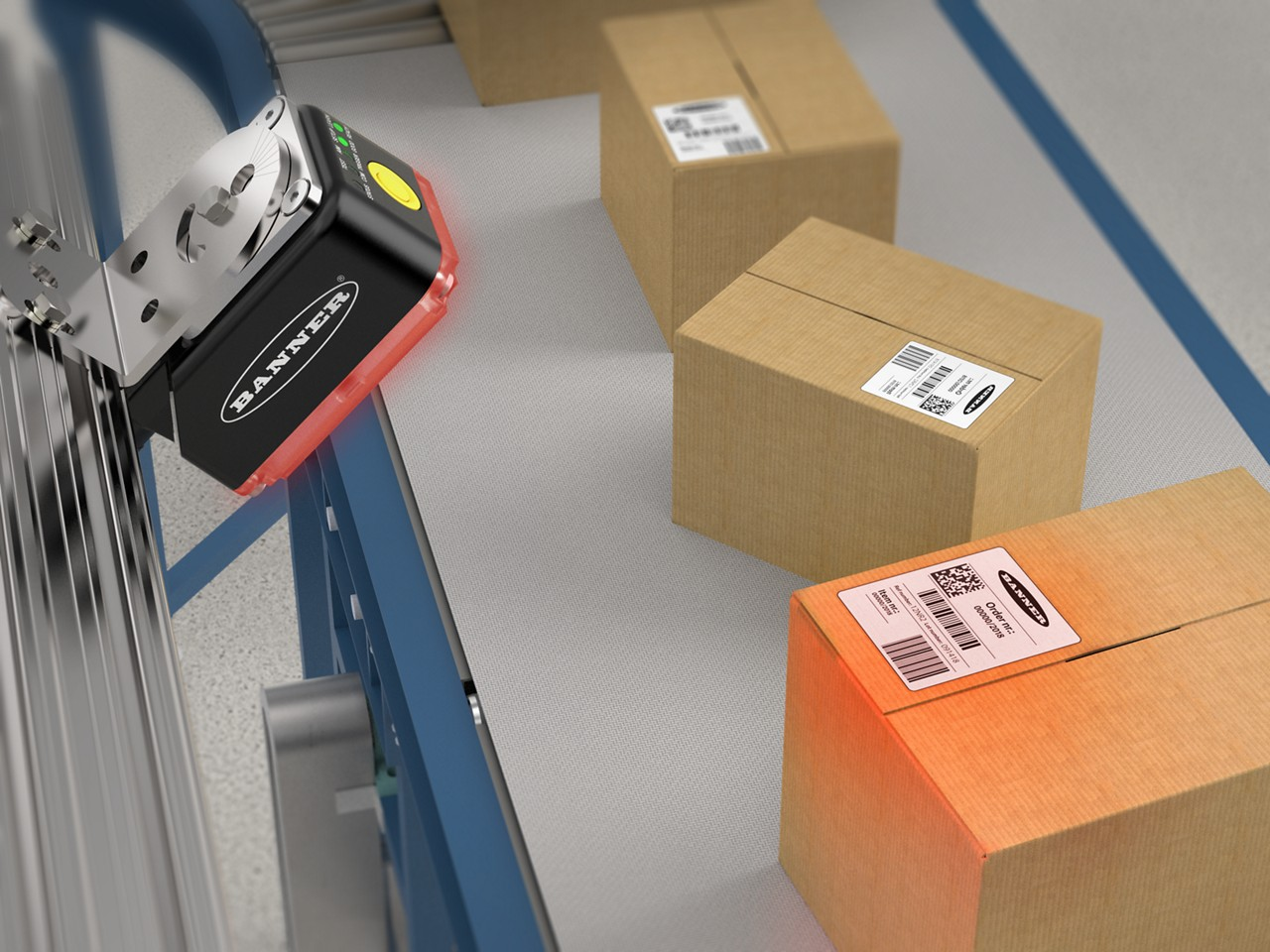 ABR 7000 barcode reader scans 1D and 2D codes on boxes