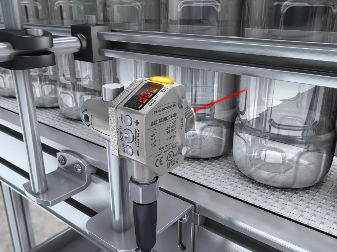 Q4X detects clear bottles in the beverage industry