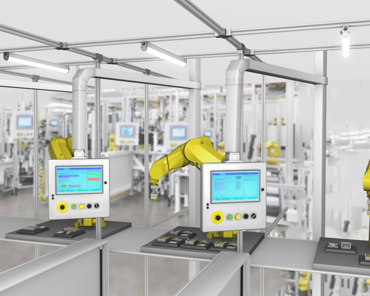 Bright lights illuminate robotic workstations