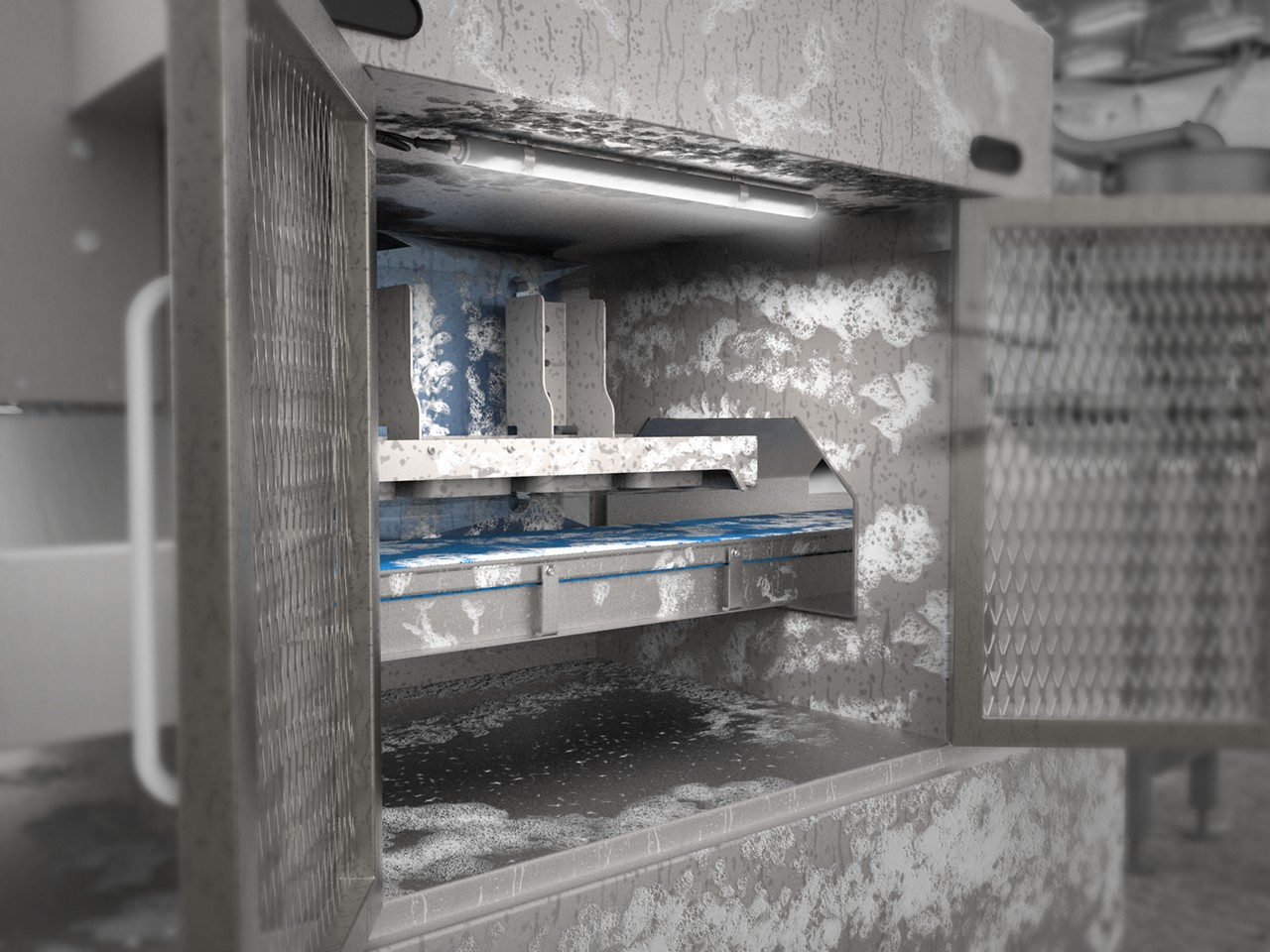 machine lighting in a freezer