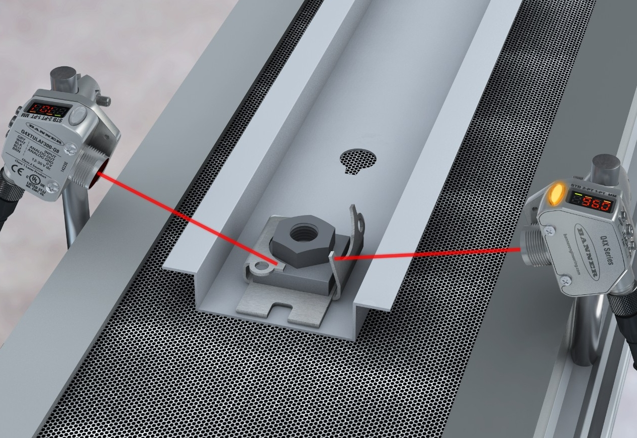 Q4X laser measurement sensors inspect a metal bracket