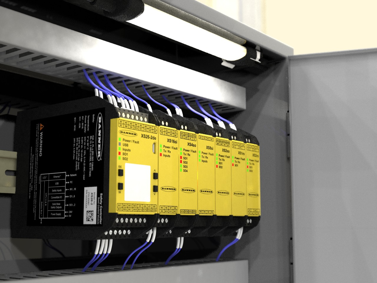WLS15 led light illuminates a safety control cabinet