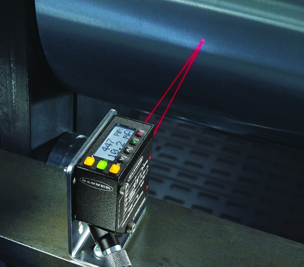 Laser sensor measures roll of metal