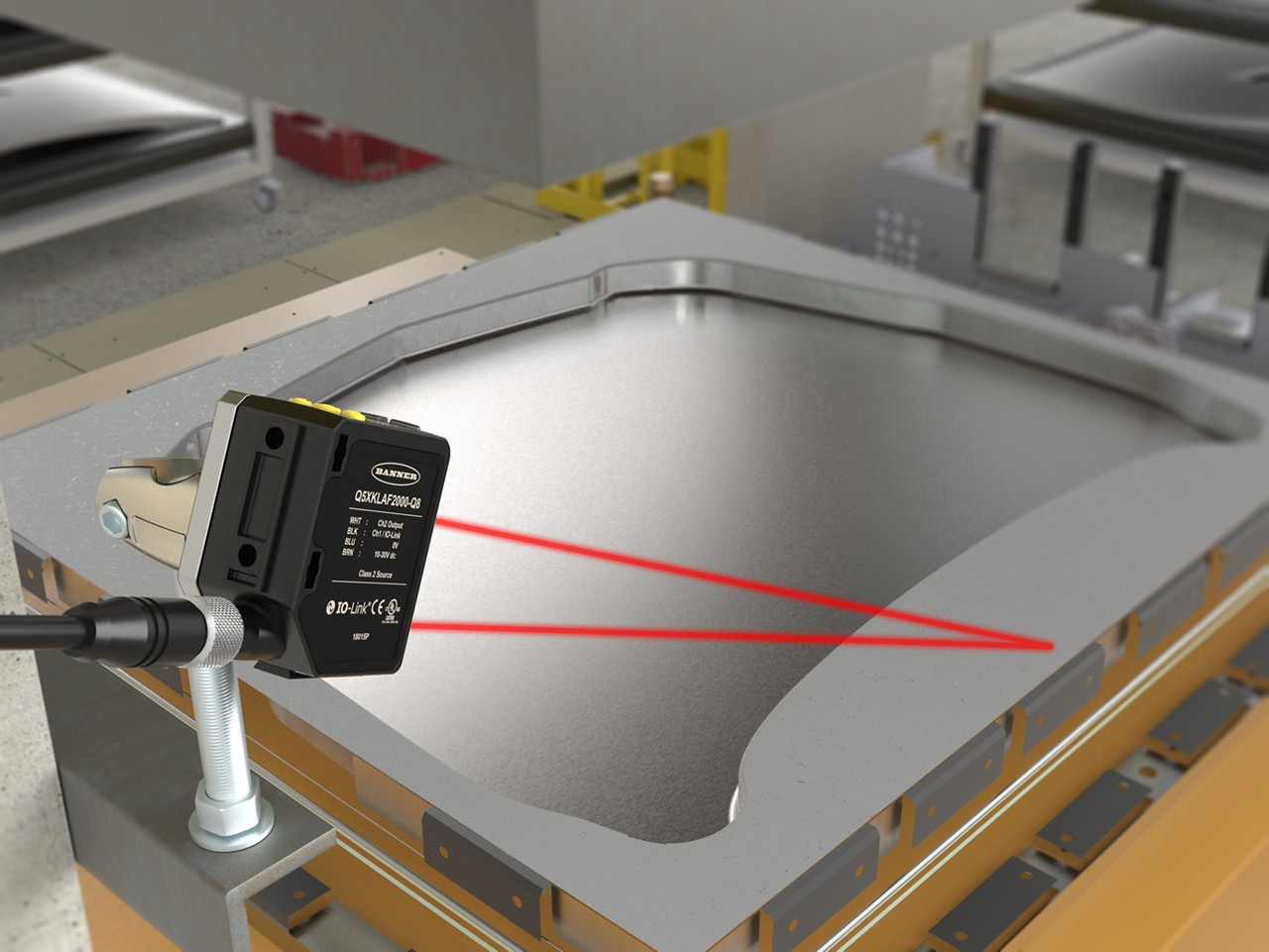 laser sensor verifies that a metal sheet is indexed on a stamping press