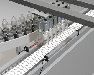 Monitoring Flow of Transparent Plastic Bottles on a Conveyor