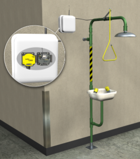 Process Monitoring, Reporting the Location of an Activated Emergency Shower